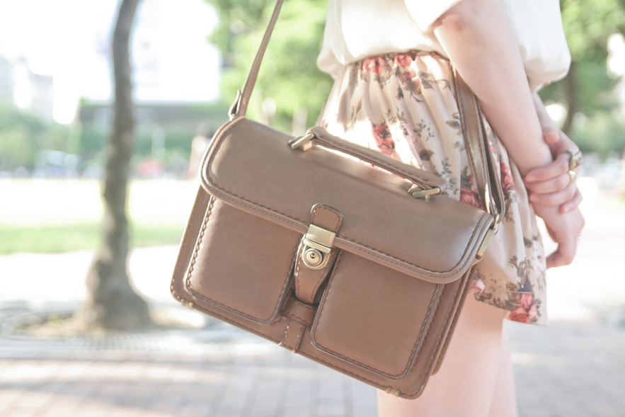 thrifted satchel bag