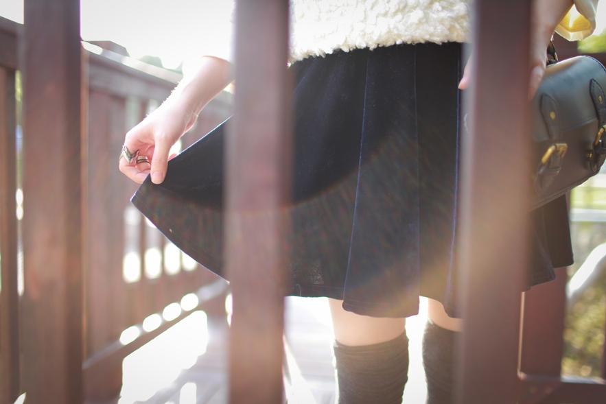 navy velvet skirt