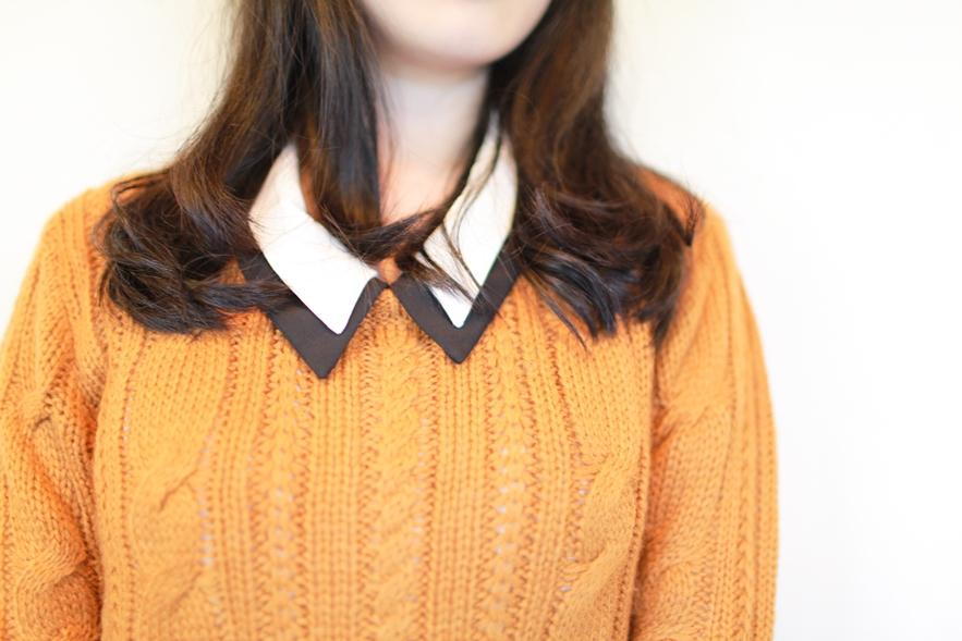 double collar knitwear fashion