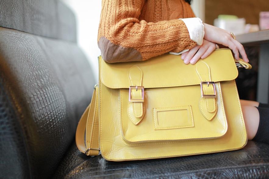 mustard yellow satchel style