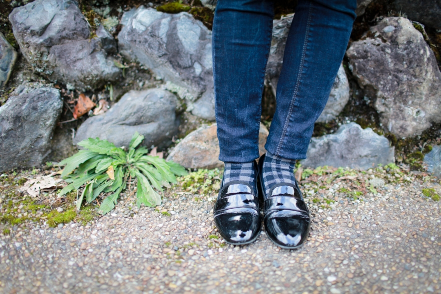 black leather loafers street
