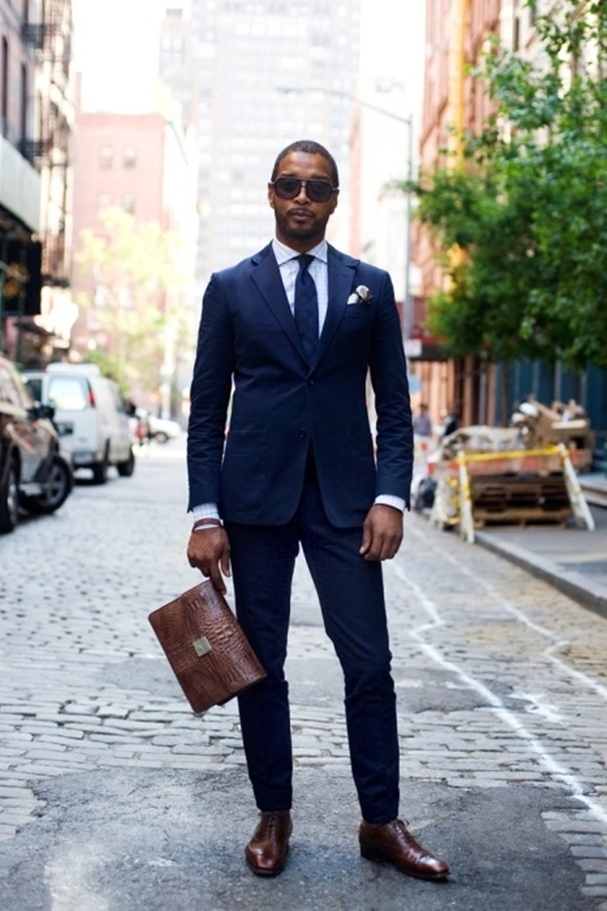 menswear navy and brown