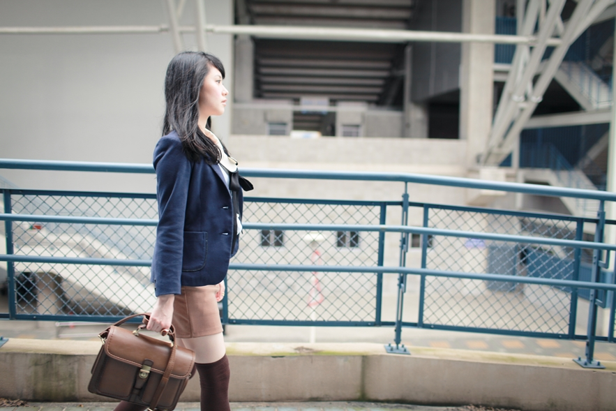 menswear-inspired navy blazer brown