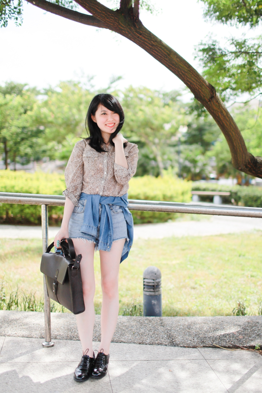 leopard blouse and denim
