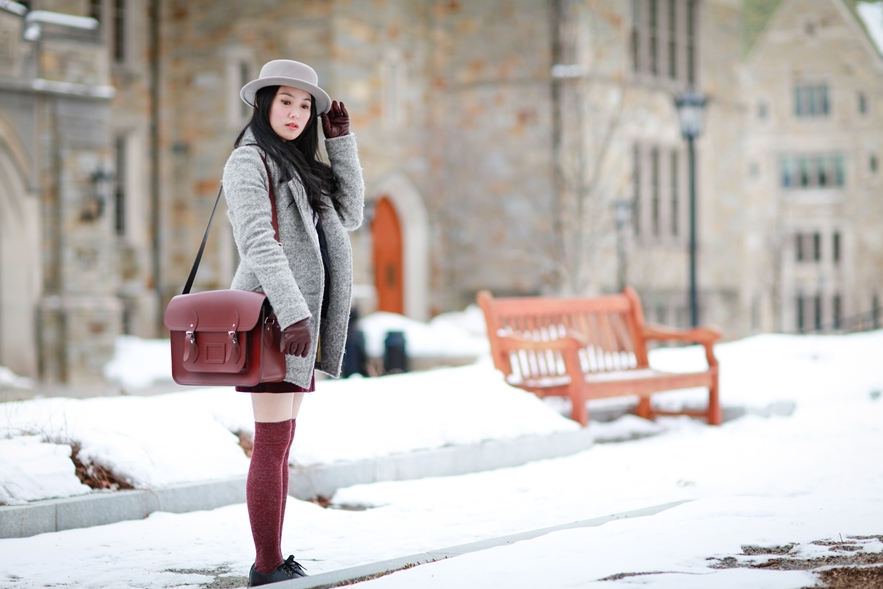 Burgundy cambridge satchel