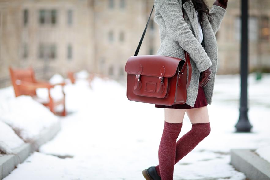 burgundy outfit cambridge satchel