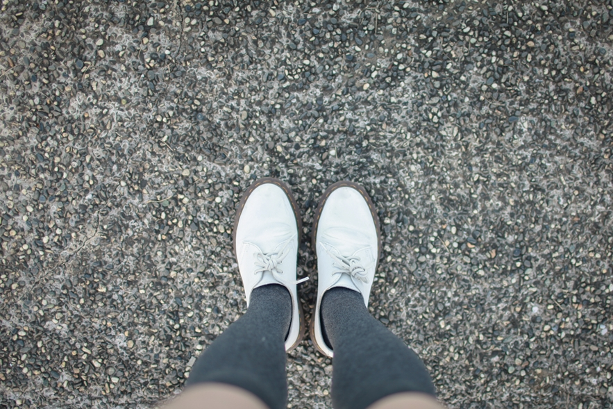 white doc martens style shoes